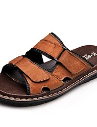 Men's Slippers & Flip-Flops Spring Summer Fall Comfort Cowhide Outdoor Dress Casual Light Brown Black Water Shoes