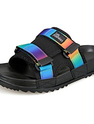 Da uomo Pantofole e infradito Pantofole e flip-flop PU (Poliuretano) Estate Casual Piatto Arcobaleno Bianco/nero Schermo a colori Piatto