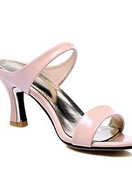 Mujer Zapatos PU Verano Confort Sandalias Tacón Stiletto Puntera abierta Con Para Casual Blanco Beige Rosa