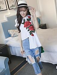 Mujer Simple Casual/Diario Verano T-Shirt Pantalón Trajes,Escote Redondo Bordado Sin Mangas