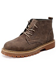 Men's Boot Combat Boot Spring Fall PU Casual Lace-up Flat Heel Khaki Gray 2in-2 3/4in