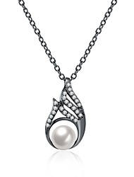 Lureme Women's Vintage Teardrop with Crystal and Shell Pearl Pendent Necklace
