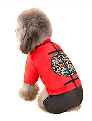 Dog Coat Dog Clothes New Year's Embroidered Ruby Yellow