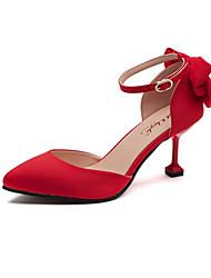 Feminino-Saltos-Conforto Solados com Luzes-Salto Agulha-Preto Vermelho-Tecido-Casamento Ar-Livre Social Festas & Noite