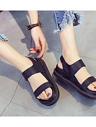 Damen Sandalen Komfort Echtes Leder Kunststoff Sommer Normal Schwarz Flach