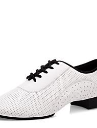 Non Customizable Men's Dance Shoes Nappa Leather Latin / Ballroom Heels Low Heel Professional / Indoor / Performance / Practice