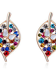 Drop Earrings Women's Fashion Leaf Multicolor Style Crystal 2Colors Earrings For Office & Career Party Daily Movie Jewelry