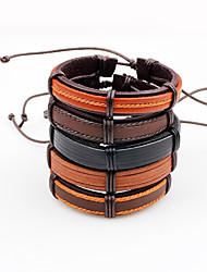 Men's Leather Bracelet Adjustable Multi-ways Wear Leather Line Irregular Jewelry For Casual Going out