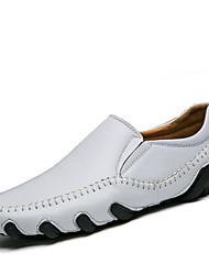 Herren Loafers & Slip-Ons Komfort Leuchtende Sohlen Tauchschuhe Leder Sommer Herbst Walking Flacher Absatz Weiß Schwarz Braun Flach