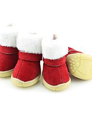 Собака Ботинки и сапоги Сохраняет тепло Рождество Новый год Сплошной цвет