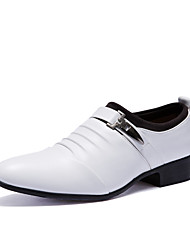 Men's Shoes Leather Fall Winter Comfort Formal Shoes Oxfords For Casual Party & Evening Office & Career White Black