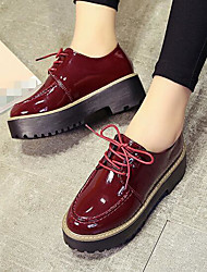 Women's Oxfords Comfort Fall Patent Leather Casual Burgundy Black 2in-2 3/4in