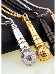 Fashion men titanium steel stainless steel punk microphone pendant necklace is love K song essential jewelry