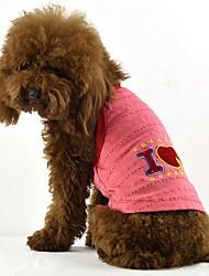 Cachorro Vestidos Roupas para Cães Casual Carta e Número Fúcsia Café Azul