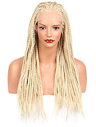 Long Straight Braids Synthetic Lace Front Wigs Blonde Color Braid Crochet Synthetic Wig
