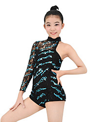 MiDee Leotards Performance Spandex / Sequins 2 Pieces Latin Dance Sleeveless / Long Sleeve Natural Leotard / Hair Band