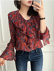 Women's Casual/Daily Street chic Blouse,Print V Neck Long Sleeves Polyester