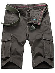 Masculino Activo Cintura Média Micro-Elástica Chinos Calças,Solto Sólido