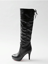 Women's Boots Comfort Spring Fall PU Casual Stiletto Heel White Black 3in-3 3/4in