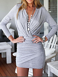 Women's Casual/Daily Simple Sheath Dress,Solid Deep V Mini Above Knee Long Sleeves Cotton Summer High Rise Stretchy Thin