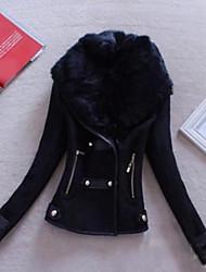 Для женщин На выход Зима Кожаные куртки Воротник шалевого типа,Простой Однотонный Короткая Длинный рукав,Полиуретановая