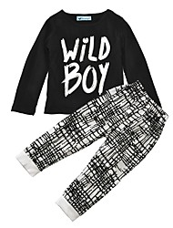 Baby Boy's Cotton Casual/Daily Print Clothing Set Spring/Fall Winter Wild Boy Tops Checks Pants Kids Boys Clothes