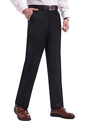 Men's High Rise Micro-elastic Business Pants,Simple Slim Solid