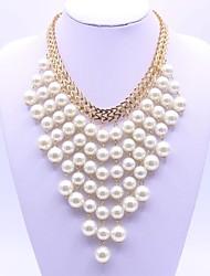 Mulheres colares em camadas Imitação de Pérola Forma Geométrica Liga Moda Clássico Jóias Para Festa Diário Festa de Noite Palco