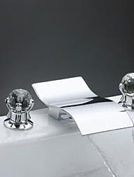Moderne Diffusion large Jet pluie with  Soupape en laiton Deux poignées trois trous for  Chrome , Robinet lavabo