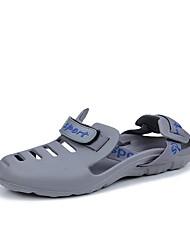 Men's Sandals Comfort Summer Synthetic Microfiber PU Casual Flat Heel Black Gray Blue Flat
