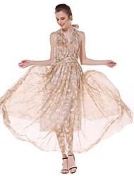 Trapèze Robe Femme Soirée Sortie Sexy simple Chic de Rue,Fleur Col en V Maxi Sans Manches Coton Eté Automne Taille Haute Non Elastique Fin