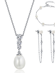 Beadia Jewelry Sets 925 Sterling Silver Necklace & Bracelet & Earrings with Fresh Water Pearl