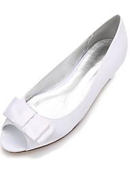 Для женщин Свадебная обувь Удобная обувь Балетки Сатин Весна Лето Свадьба Для праздника Для вечеринки / ужина Бант Цветы из сатина Цветы