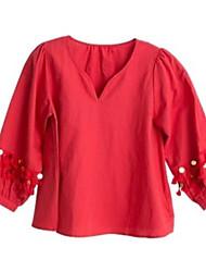 Tee-shirt Femme,Couleur Pleine Sortie Vintage Manches 3/4 Col en V Autres