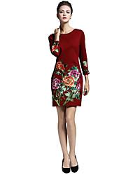 Для женщин На выход На каждый день Офис Богемный Шинуазери (китайский стиль) Изысканный А-силуэт Платье Вышивка,Круглый вырез Выше колена