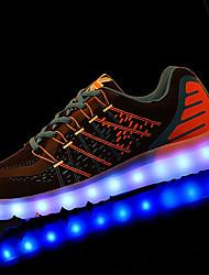 Homme Chaussures d'Athlétisme Marche Confort Cuir Printemps Automne Athlétique Lacet LED Talon Plat Noir Orange Gris Moins de 2,5 cm