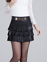 Mujer Sexy Trabajo Noche Discoteca Mini Faldas,Corte Bodycon Plisado Primavera Verano Un Color
