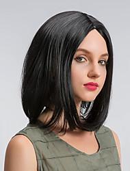 Парики из искусственных волос Без шапочки-основы Средний Естественные волны Черный Боб с прямым пробором Стрижка боб Парик из натуральных