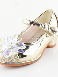 Girls' Flats Comfort Novelty Flower Girl Shoes Fall Winter Paillette Leatherette Casual Dress Sequin Flat Heel Gold Silver Blushing Pink