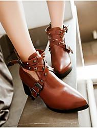 Women's Boots Comfort PU Fall Winter Casual Comfort Brown Black 1in-1 3/4in