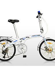 Bicicleta Dobrável Ciclismo 7 Velocidade 20 polegadas Shimano Freio a Disco Duplo Comum Quadro de Liga de Alumínio DobrávelComum