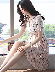 Women's Casual/Daily A Line Dress,Floral Check V Neck Above Knee Short Sleeves Acrylic Summer Mid Rise Micro-elastic Sheer