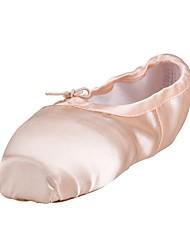 Для женщин Балет Шёлк С цельной подошвой Тренировочные На плоской подошве Розовый