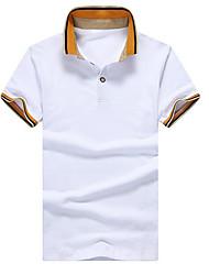 Для мужчин На каждый день Polo Рубашечный воротник,Простое Контрастных цветов С короткими рукавами,Другое