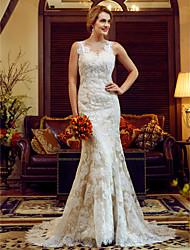 Sirène / trompette en v-cou train tribunal dentelle robe de mariée en satin avec ceinture / ruban
