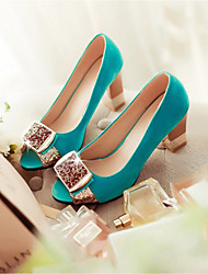 Women's Sandals Comfort PU Summer Casual Comfort Chunky Heel Blue Ruby Navy Blue Black 2in-2 3/4in