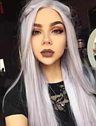 Mujer Pelucas sintéticas Encaje Frontal Largo Liso Gris Pelo Ombre Peluca natural Las pelucas del traje
