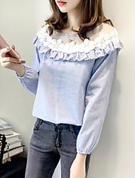 Feminino Blusa Casual Simples Primavera,Listrado Algodão Decote Redondo Manga Longa Média