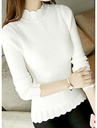 Women's Casual/Daily Short Pullover,Print Round Neck Long Sleeves Polyester Spring Fall Thin Micro-elastic