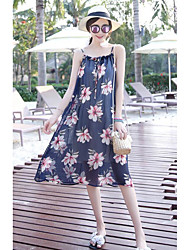 Women's Going out Swing Dress,Print Strap Knee-length Sleeveless Cotton Summer Mid Rise Micro-elastic Sheer